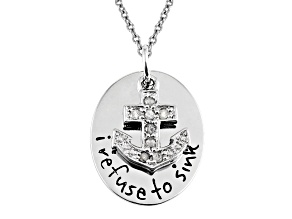 .10CTW WHITE DIAMOND STERLING SILVER ANCHOR INSPIRATIONAL PENDANT WITH CHAIN