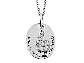 .10ctw White Diamond Sterling Silver Music inspirational Pendant With Chain