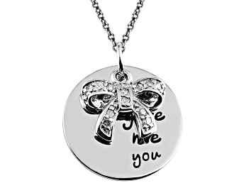 Picture of .10ctw White Diamond Sterling Silver Bow inspirational Pendant With Chain