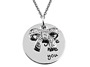 .10ctw White Diamond Sterling Silver Bow inspirational Pendant With Chain