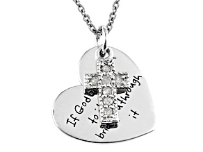 .10 Ctw White Diamond Silver Cross/Heart inspirational Pendant