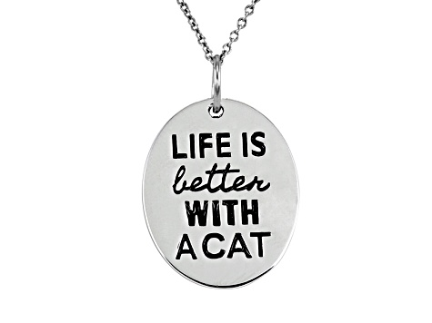 .10ctw White Diamond Sterling Silver Cat inspirational Pendant With Chain