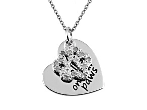 .10ctw White Diamond Sterling Silver Paw inspirational Pendant With Chain