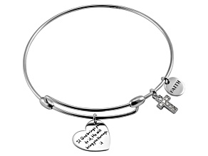 White Diamond Silver Cross inspirational Bracelet .10ctw