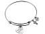 White Diamond Silver Cross inspirational Bracelet .10ctw