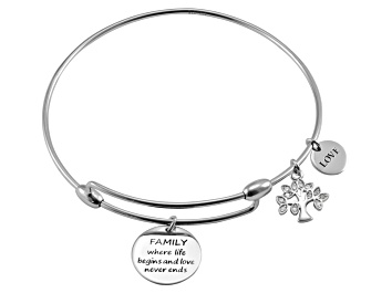 Picture of White Diamond Silver Tree Of Life inspirational Bracelet .10ctw