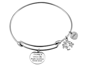 White Diamond Silver Tree Of Life inspirational Bracelet .10ctw