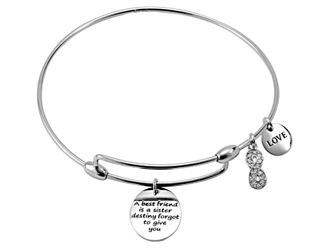 .10ctw White Diamond Sterling Silver infinity inspirational Expandable Bangle Bracelet