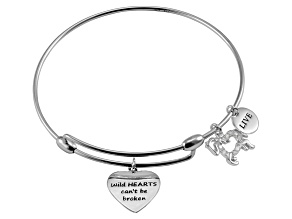 .10ctw White Diamond Sterling Silver Horse inspirational Expandable Bangle Bracelet