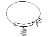 White Diamond Silver Angel Wing inspirational Bracelet .10ctw