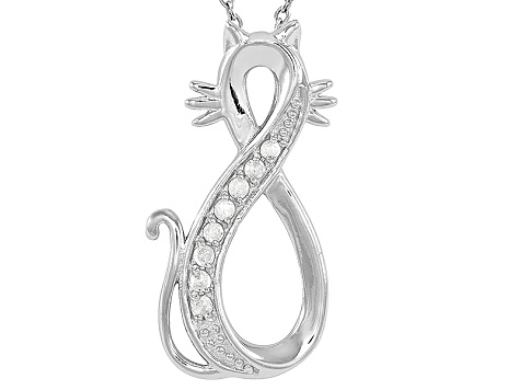 .10ctw White Diamond Sterling Silver Cat infinity Pendant With Chain