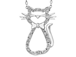 Sterling Silver .10ctw Diamond Cat Pendant With Chain
