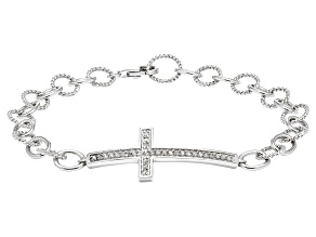 Sterling Silver .25ctw Diamond Cross Link Bracelet