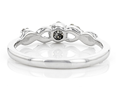 White Diamond Rhodium Over Sterling Silver Ring