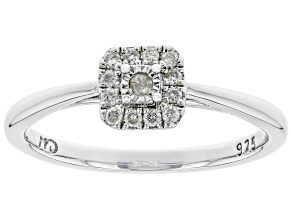 White Diamond Rhodium Over Sterling Silver Cluster Promise Ring 0.10ctw