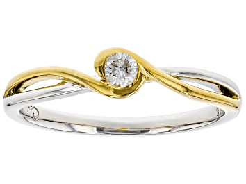 Picture of White Diamond Rhodium And 14K Yellow Gold Over Sterling Silver Ring 0.10ct