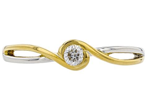 White Diamond Rhodium And 14K Yellow Gold Over Sterling Silver Ring 0.10ct