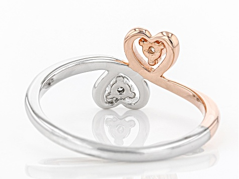 White Diamond Rhodium And 14K Rose Gold Over Sterling Silver Ring 0.10ctw