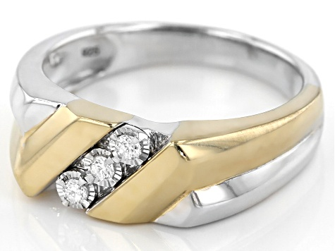 White Diamond Rhodium and 14k Yellow Gold Over Sterling Silver Mens 3-Stone Ring .10ctw