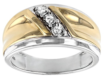 Picture of White Diamond Rhodium and 14k Yellow Gold Over Sterling Silver Mens 3-Stone Ring .10ctw
