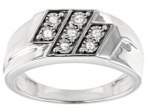 White Diamond Rhodium Over Sterling Silver Mens Ring .10ctw