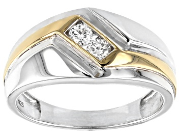 Picture of White Diamond Rhodium and 14k Yellow Gold Over Sterling Silver Mens 2-Stone Ring .25ctw