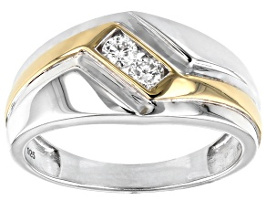 White Diamond Rhodium and 14k Yellow Gold Over Sterling Silver Mens 2-Stone Ring .25ctw