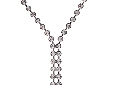 White Crystal Gunmetal Tone Zipper Necklace