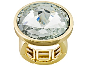 White Crystal Gold Tone Stretch Ring