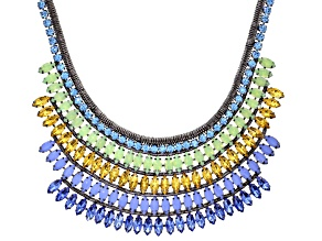 Multicolor Crystal Gunmetal Tone Statement Necklace