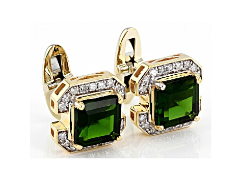 Green Chrome Diopside 10k Yellow Gold Cuff Links 4.72ctw