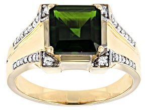 Green Russian Chrome Diopside 10k Yellow Gold Men's Ring 4.05ctw