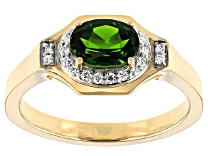 Green Russian Chrome Diopside  10k Yellow Gold Mens Ring 1.34ctw