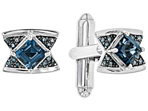 London Blue Topaz Rhodium Over 14k White Gold Cufflinks 1.47ctw