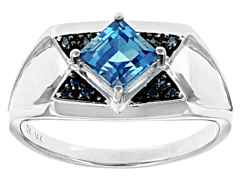 London Blue Topaz Rhodium Over 14k Gold Men's Ring 1.25ctw