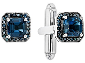 London Blue Topaz Rhodium Over 10k White Gold Cuff links 2.33ctw