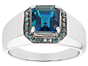 London Blue Topaz Rhodium Over 10k White Gold Mens Ring 4.01ctw