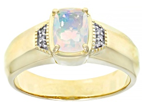 Multi Color Ethiopian Opal 10k Yellow Gold Men's Ring .64ctw