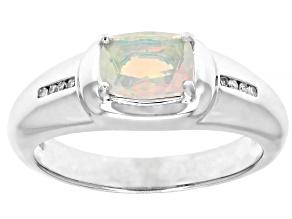 Multi Color Ethiopian Opal Rhodium Over 10k White Gold Men's Ring .64ctw