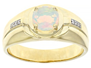 Multi Color Ethiopian Opal 10k Yellow Gold Men's Ring .83ctw
