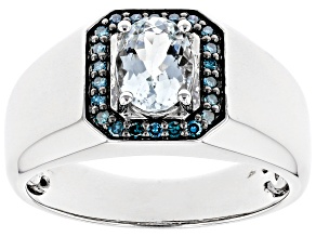 Blue Aquamarine Rhodium Over 10k White Gold Men's Ring 1.08ctw