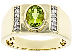 Green Peridot 10k Yellow Gold Men's Ring 1.24ctw