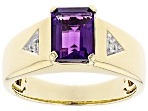 Purple Amethyst 10k Yellow Gold Men's Ring 2.05ctw