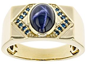 Blue Star Sapphire 10k Yellow Gold Men's Ring 2.86ctw