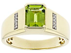 Green Peridot 10k Yellow Gold Men's Ring 2.08ctw
