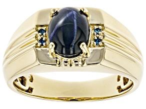 Blue Star Sapphire 10k Yellow Gold Men's Ring 2.79ctw
