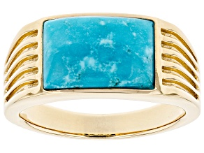 Blue Kingman Turquoise 10k Yellow Gold Men's Ring