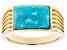 Blue Kingman Turquoise 10k Yellow Gold Men's Ring