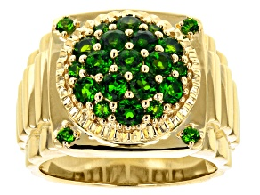 Green Russian Chrome Diopside 10k Yellow Gold Mens Ring 1.78ctw