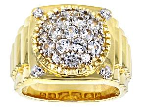 White Zircon 10k Yellow Gold Mens Ring 2.08ctw
